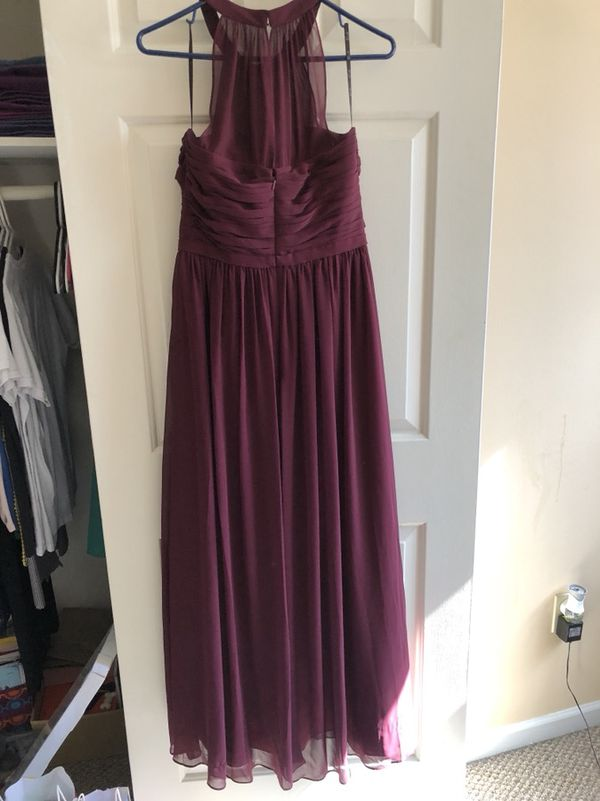 Wine colored bridesmaids illusion halter top dress for Sale in ...