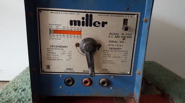 Miller Arc Welder >> Welder Miller Arc Stick Welder Model M225p For Sale In Oak Lawn