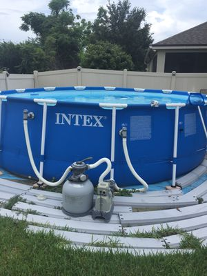 ntex 15ft X 48in Metal Frame Pool Set with Filter Pump, Ladder, Ground Cloth & Pool Cover for Sale in Orlando, FL