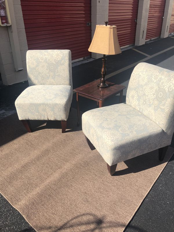 Accent Chairs Sold In Pairs.Accent Chair Pair Beautiful Light Blue And White For Sale In Davie Fl Offerup
