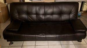 Black Leather Futon Couch for Sale in Miami, FL