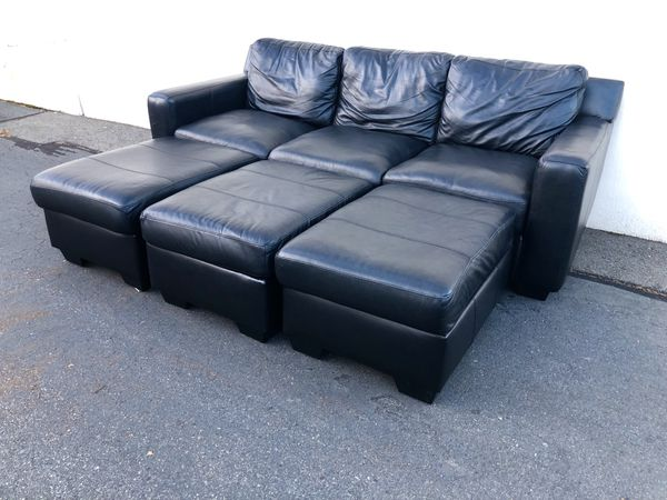 Black Leather Sofa with Matching Set of Ottomans / Sectional Couch ...
