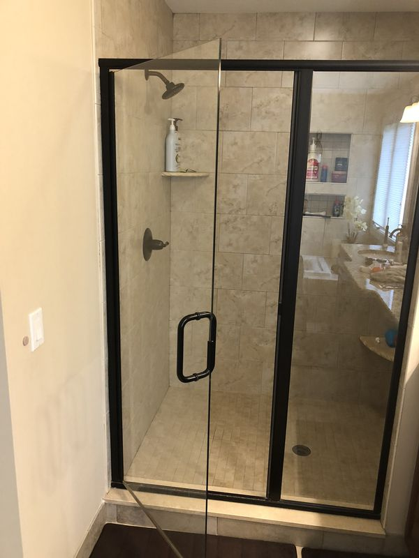 Semi frameless oil rubbed bronze shower door for Sale in Rochester ...