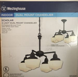 Westinghouse 6342000 Scholar Four-Light Indoor Convertible Chandelier/Semi-Flush Ceiling Fixture, Oil Rubbed Bronze Finish with White Opal Glass for Sale in Potomac, MD