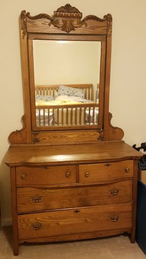Vintage Oak Dresser with Mirror for Sale in Lorton, VA