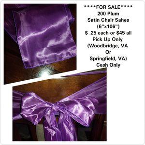Plum Satin Chair Sash for Sale in Woodbridge, VA
