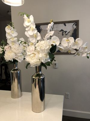 Set Of 4 Tall Glass Vases With Silver Vase Wedding For Sale In