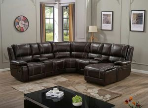 Brown or black leather reclining sectionals w/cup holders for Sale in Marietta, GA