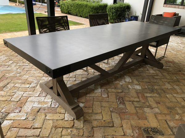 Restoration Hardware concrete teak outdoor dining table ...