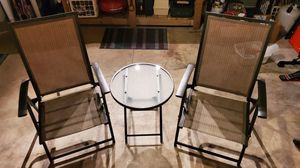 Photo 3 piece patio set with glass table