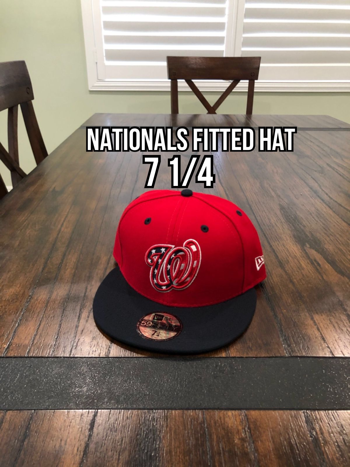 MLB New Era Washington Nationals Red Blue Brim 59fifty Fitted Hat Size 7 1/4
