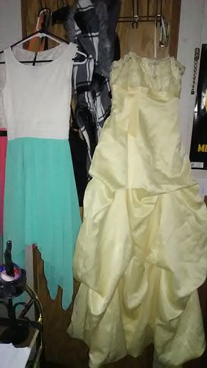 Photo Yellow wedding/prom dress size 3 cute speechless pink and white dress size 2 and rue21 green and white dress size 3 also