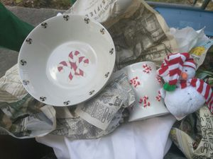 Christmas themed porcelain china. Over 30 pieces. Best offer for Sale in Tampa, FL
