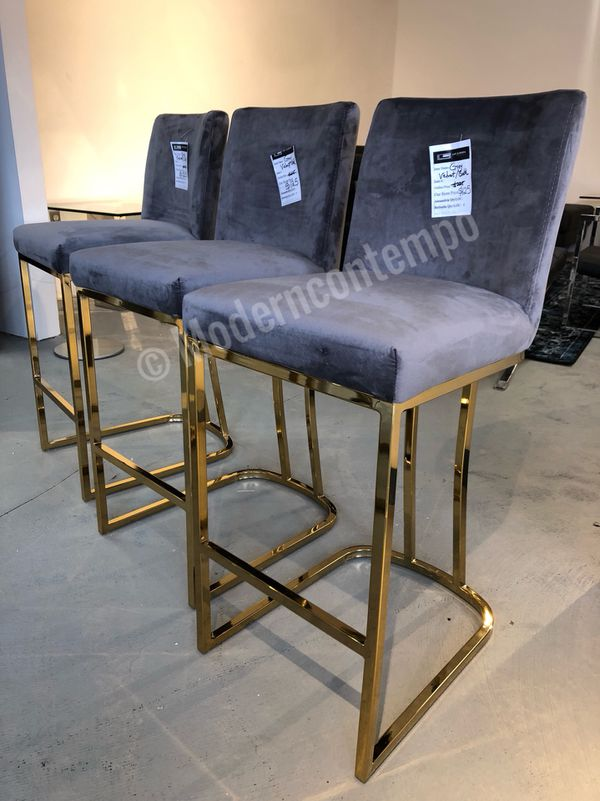 Terrific Set Of 3 Grey Velvet Bar Stools For Sale In Rockville Md Bralicious Painted Fabric Chair Ideas Braliciousco