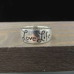 Size 6.5 Sterling Silver Love Life Be Brave Band Ring Vintage Statement Engagement Wedding Promise Anniversary Bridal Cocktail Thumbnail