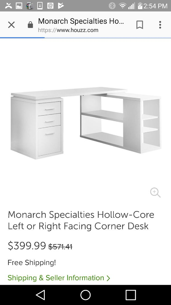 Monarch Specialties Hollow Core Left Or Right Facing Corner Desk For