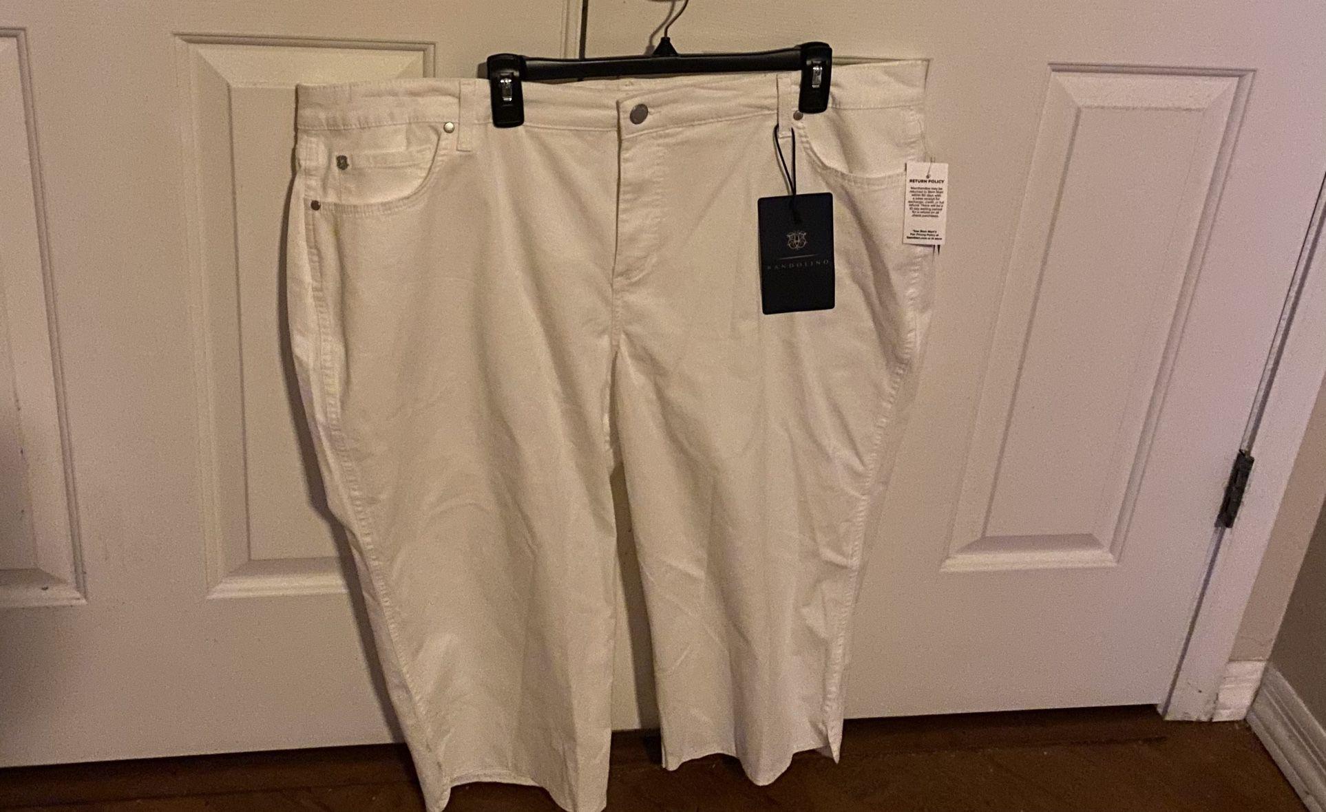 WOMENS BANDOLINO jEANS  WHITE CAPRI PANTS SIZe  22 W