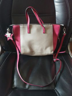 Candie's purse pink and grey new with long shoulder strap Thumbnail