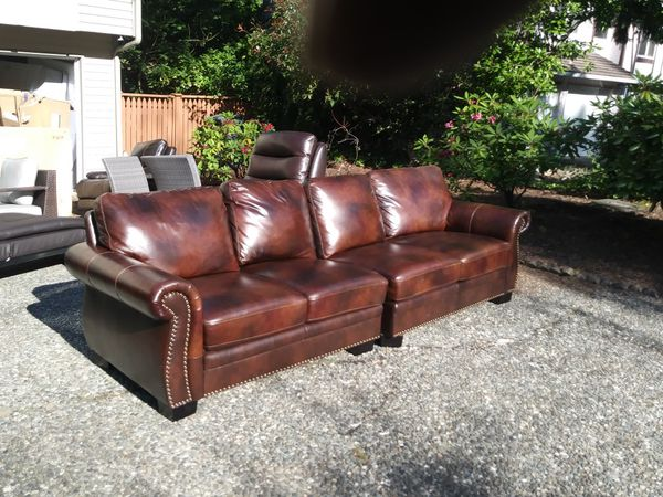 2pc Top Grain Leather Sofa With Recliner For Sale In