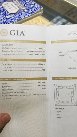 3.32 carat GIA certified diamond princess cut for Sale in Los Angeles, CA