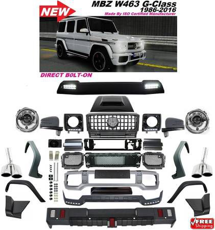 Mercedes w463 g-class conversion kit front bumper fender flares grill  headlights headlight covers with led hood scoop b style bumper lip b style  bump