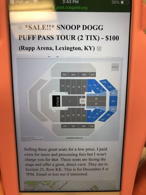 2 TIX FOR PUFF PUFF PASS TOUR (ft Snoop Dogg) for Sale in Washington, DC