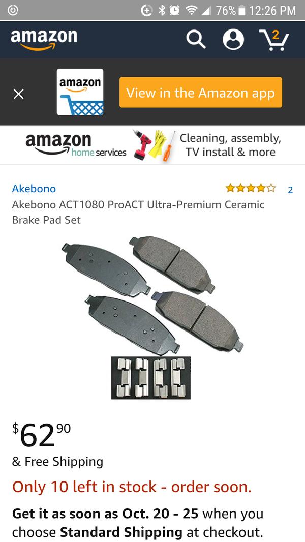 Disc Brake Pad Set-ProACT Ultra Premium Ceramic Pads Rear Akebono ACT1087