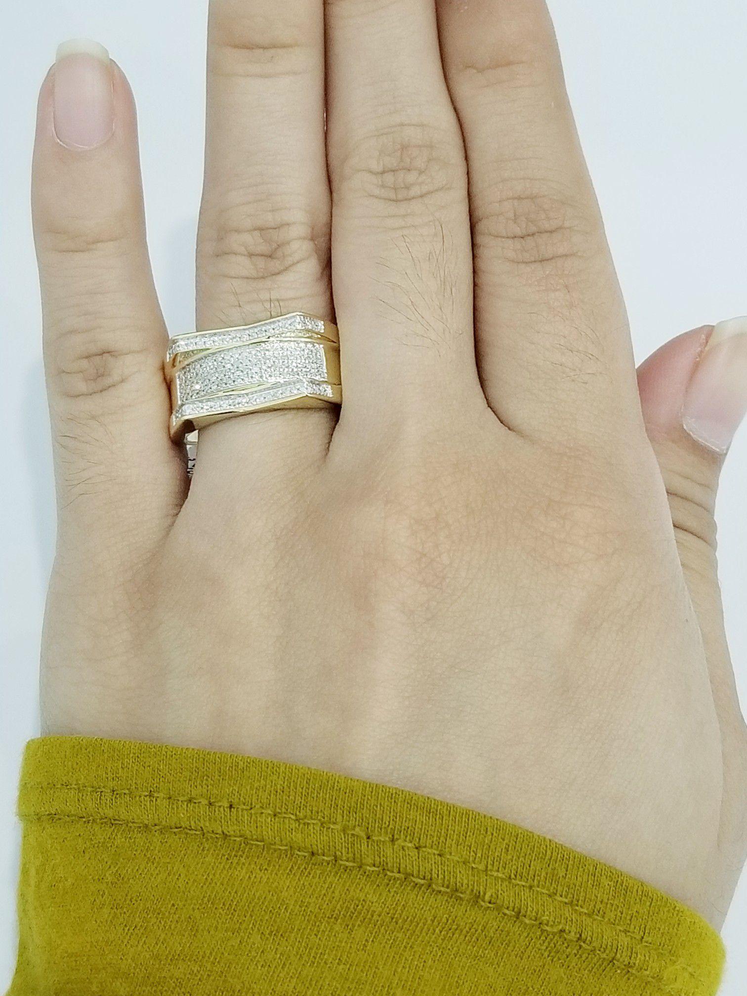 10k Yellow Gold Diamond Wedding Bridal Ring Mans Ring Band