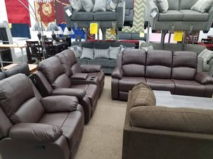 Brand new espresso bonded leather sofa loveseat chair recliner set for Sale in Beltsville, MD
