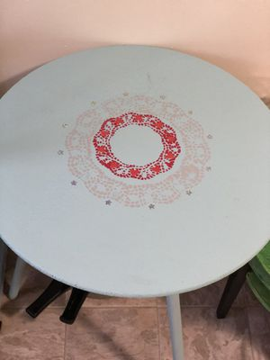 Powder blue chalk painted pedestal table for Sale in Lynchburg, VA