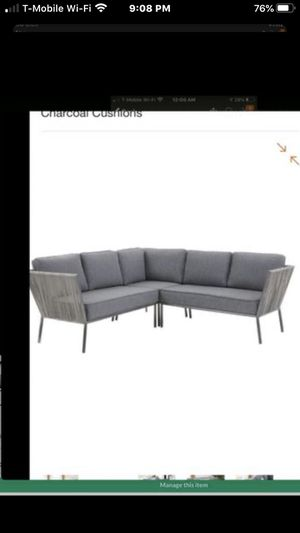 Photo Brand new in box Hampton Bay Tolston 3-Piece Wicker Outdoor Patio Sectional Set with Charcoal Cushions original price $499.00 plus tax total $537.45