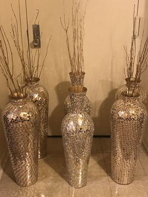 """New 3 sets of large 30"""" tall mosaic vases $240 each 2 or $600 for all 6 click on my profile picture on this page to check out my other listings for Sale in MONTGOMRY VLG, MD"""