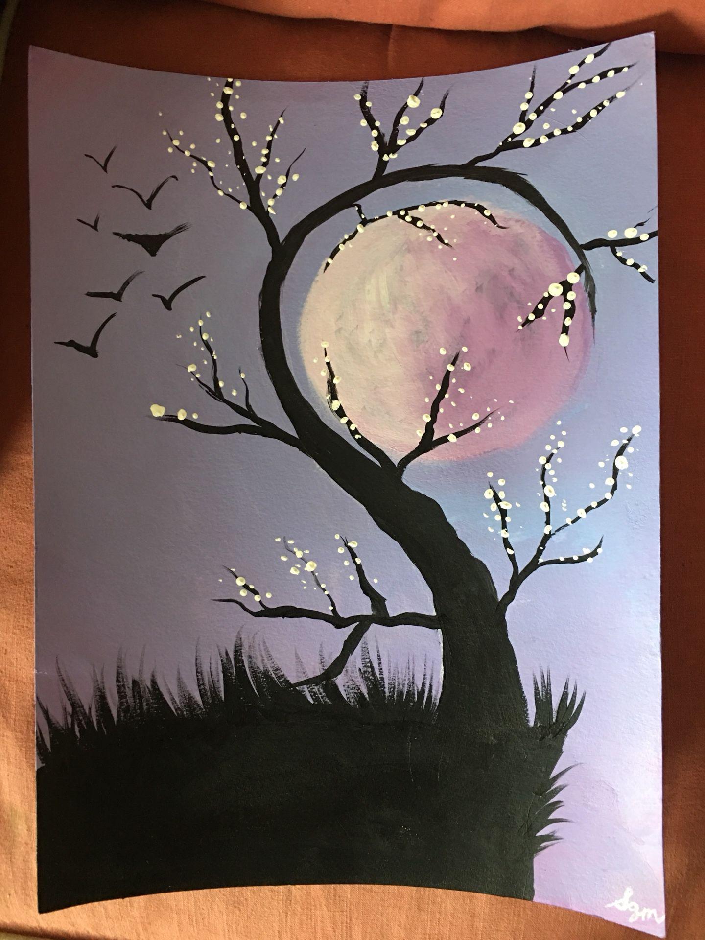 Original spooky tree moonlit silouhette painting