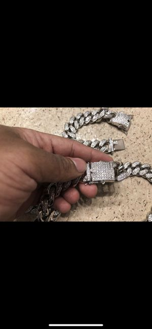 Silver coated 24k white gold Cuban with diamond studs for Sale in Orlando, FL