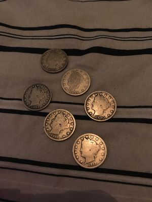 1903, 1904, 1905, 1907, 1910, 1912 V Nickel Coins $5 each or all for $25 for Sale in Dallas, TX