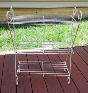White Shabby Chic Metal Wire 3 Shelf Stand for Sale in Lorton, VA