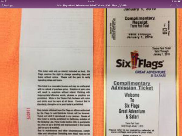 2 Six Flags Great Adventure Safari Tickets Valid Thru  For Sale In Nj Us Offerup