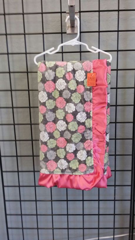 Pink,gray,and green minky baby blanket 30x36