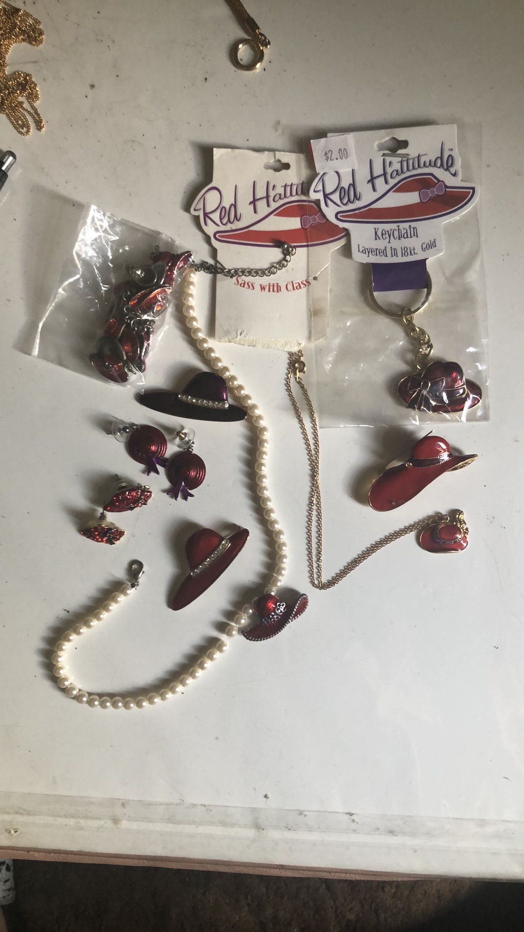 BUNDLE OF RED HATS JEWELRY/keychain /charms