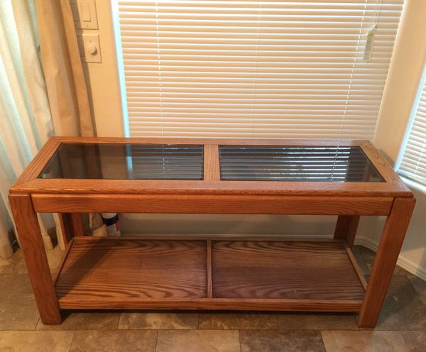Wood Entry Table With Stained Glass Top For Sale In Irvine Ca Offerup