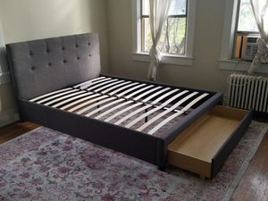 Brand New Full Size Grey Linen Upholstered Platform Bed w/Storage Drawer for Sale in Wheaton-Glenmont, MD
