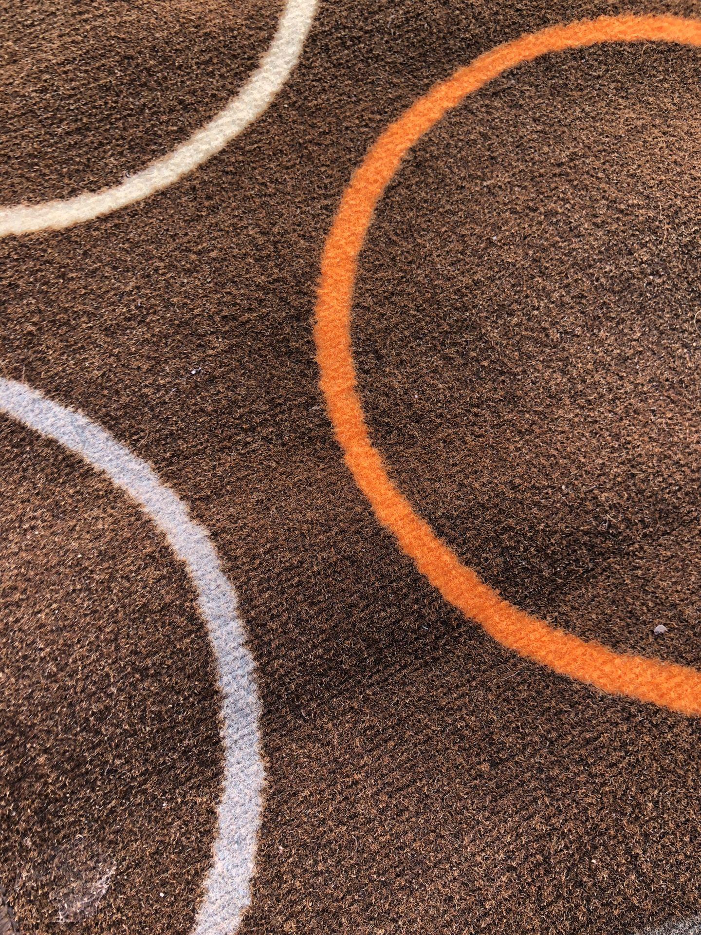 """82"""" x 52"""" Area Rug - Modern Circles Earth Tones Brown Orange Tan Grey"""