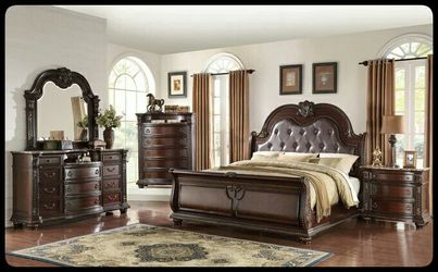 🆕QUALITY🆕 Stanley Cherry Brown Sleigh Bedroom Set Thumbnail