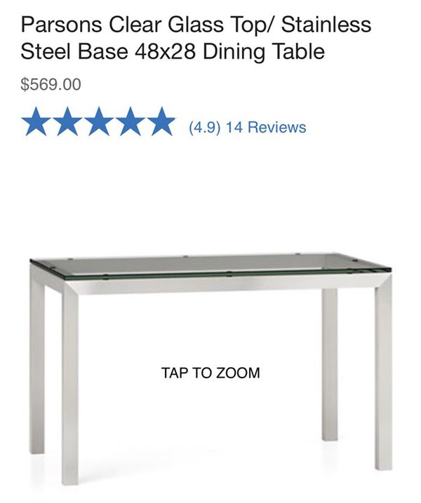 128f012d36de BRAND NEW  Crate and Barrel Glass Stainless Steel Dining Table for ...