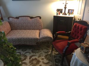 PLEASE BY US! WE NEED A GOOD HOME. Antique fainting couch and chair. for Sale in Martinsburg, WV