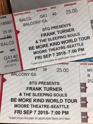 Two tickets - Frank Turner and the Sleeping Souls for Sale in Seattle, WA