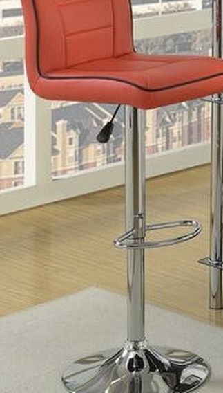 """Bar Stool Red Faux Leather . 17"""" X 21"""" X 38""""h -46""""h . New. Especial Price"""