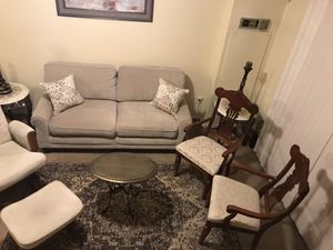 "7 pieces living room set sofa 71x35"" , 2 pillows, 22x24"" brass table , 2 wood chairs, 5x7"" rug for Sale in Gaithersburg, MD"