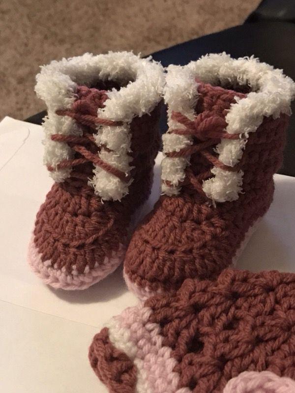 Baby hat boot set crochet