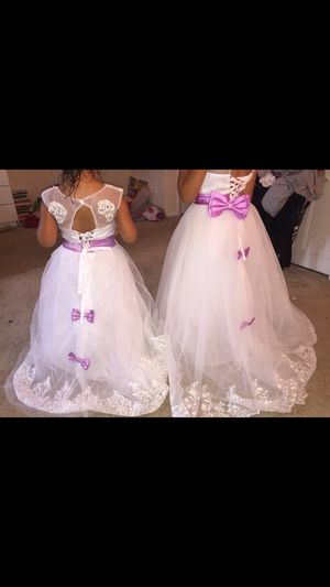 Two white and lilac flower girl dresses for Sale in Takoma Park, MD